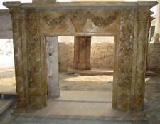 Beautiful Hand Carved Marble Fireplace Mantel with Carvings of Floral Swags