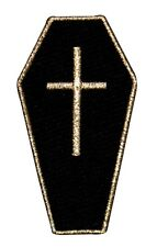 Coffin Casket Gothic Embroidered Iron On Badge Applique Patch FD