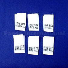 "1000 pcs WOVEN SEWING LABELS ""ONE SIZE FITS ALL"" in White, Fast Shipping @USA"