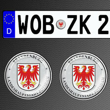 2 GERMAN NUMBER PLATE STICKERS 3D GEL CAR SEAL BRANDENBURG POTSDAM PLAKETTE G4