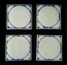 Set of 4 Antique/Vintage Architectural Salvage Blue DELFT(?) Wall Tiles ~ 5 1/2""
