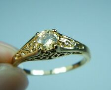Ring 9ct Gold Filled Champagne Solitaire Morganite Antique Style size P