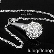 WHITE GOLD PLATED MICROPHONE PENDANT NECKLACE USE SWAROVSKI CRYSTALS ROPE CHAIN