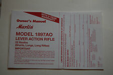 Marlin Model 1897AO Lever Action Rifle 22 Rimfire Owners Manual