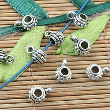 Tibetan Silver color round spacer bail charms 80pcs EF0029