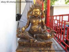 Tibet old Bronze copper Buddhism Classic Dzambala Yellow Jambhala Buddha Statue