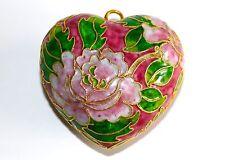CLOISONNE smalto a forma di cuore ORNAMENTALE ROSA ROSE Motif tubo oro effetto FODERATO