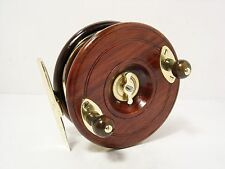 "Vintage Antique Wooden & Brass Reuben Heaton 4 ½"" Fishtail Fishing Reel"