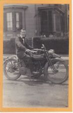 Real Photo Postcard RPPC - Man on Harley Davidson Motorcycle