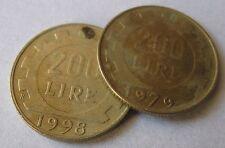 """200 Lire Repubblica Italiana """"LAVORO"""" - 2 pezzi 1979 e 1998 - n. 1082"""