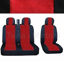 OPEL VAUXHALL VIVARO Bus Box Seat Covers 2+1 Headrest Black / Red DE LUX FABRIC