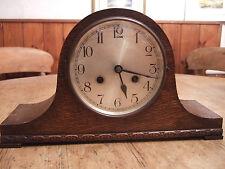 """ANTIQUE (1920) OAK CASED """" NAPOLEON"""" PENDULUM TWO TRAIN MANTLE CLOCK"""