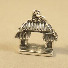 .925 Sterling Silver 3-D CHINESE GATE CHARM NEW Pendant China Town 925 TR102
