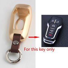 Gold Aluminum Smart Remote Key Holder Case Cover 5BTN For FORD F-150 LINCOLN MKZ