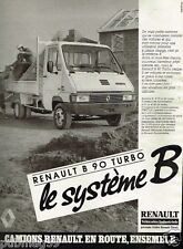 Publicité advertising 1986 Camion Camionette Renault B 90 Turbo