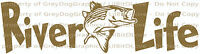 River Life Decal with Striped Bass in Center Sticker Striper Fishing Fisherman