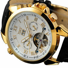 Gold White Tourbillon Automatic Mechanical Day Date Men's Leather Sport Watch