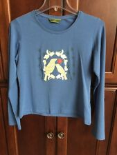 WOMEN'S OILILY LOVE BIRDS BLUE KNIT TOP SIZE LARGE NWOT