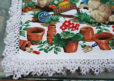 Large Vintage Wilton Court Tablecloth Mcgregor's garden w Hand Tatted Edge 96x58