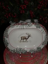 "222 FIFTH MOUNT HOLLY GREEN 14"" OVAL SERVING PLATTER CHRISTMAS PINECONES"