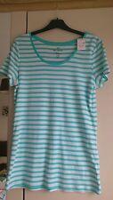 women's size 20 white/aqua blue striped long tshirt, bnwt