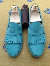 Gucci Men's Shoes Teal Green Suede Loafers UK 8.5 US 9.5 EU 42.5 Fringe Drivers