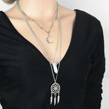 Bohemian Dreamcatcher Moon Long Multilayer Layered Necklace Pendant