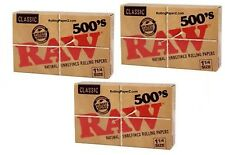 3X RAW 500's 1 1/4 Size Cigarette Rolling Papers - THREE  FLAT PACKS=1500 Leaves