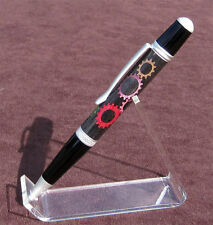Handmade SIERRA pen Satin Pearl/Black & Mechanical Steampunk Gear Inlay [BAUER]