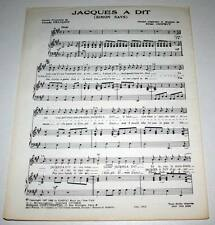Partition vintage sheet music CLAUDE FRANCOIS : Jacques a Dit (Simon Says) *60's