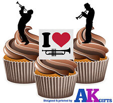 I Love Trumpet Mix 12 Edible Stand Up Cup Cake Toppers Decorations Blues Jazz