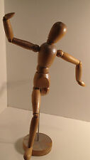 VINTAGE WOOD MAN MINIATURE MANNEQUIN MODEL ARTICULATED JOINTED