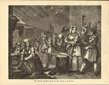 1870s large illustration from hogarth's works : the harlot in bridewell