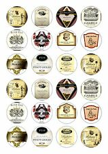 24 WINE LABELS CUPCAKE TOPPER WAFER RICE EDIBLE FAIRY CAKE BUN TOPPERS