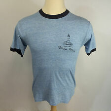 Vtg 80s Biloxi Mississippi Ringer Blue 50 50 Rayon? T Shirt Distressed Thin