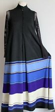 Jean Varon Wide Stripe Vintage Maxi Dress Sheer Fishnet Sleeves Fit Uk 10