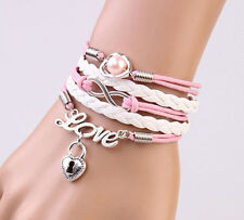 NEW Infinity Love Heart Lock Friendship Antique Silver Leather Charm Bracelet 4D