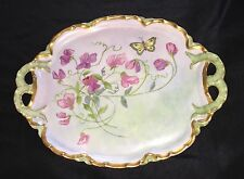 "Antique Haviland Limoges 2-Handle Vanity Tray Dish ""H"" Mark 1888 Butterfly"