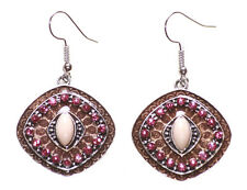Alluring Brown Enamel Dot/pink Diamante & Nude Stone Centre Earrings(Ns17)