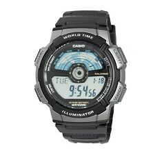 Casio AE1100W-1A Mens 100M Lcd World Time Sports Watch 10 Year Battery Dual Time
