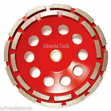 """7"""" Double Row Concrete Diamond Grinding Cup Wheel for Angle Grinder - 7/8""""-5/8"""""""