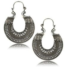 PAIR LARGE AFGHAN TRIBAL WHITE BRASS EARRINGS HANGER ORNATE ANTIQUED PLUGS HOOPS