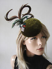 Olive Green Velvet Pheasant + Peacock Button Cocktail Hat Headpiece Fascinator