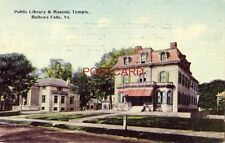 1915 PUBLIC LIBRARY & MASONIC TEMPLE, BELLOWS FALLS, VT.