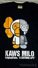 A BATHING APE BAPE KAWS MILO ORIGINAL FAKE T-SHIRT SIZE XL GRAY BODY NOWHERE