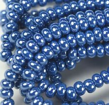 "Czech Glass Seed Beads 6/0 "" LUSTER TEAL BLUE  "" strands"