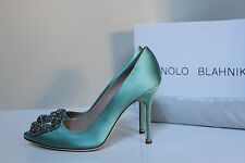 "New sz 6 / 36.5 Manolo Blahnik Mint Hangisi Brooch Toe Jewel 4"" Heel Pump Shoes"