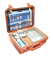 Orange Pelican 1550 EMS Case With Padded dividers and Lid organizer.