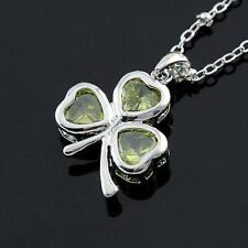 Silver Shamrock Necklace Pendant Irish Celtic Clover Cubic Zirconia USA Seller