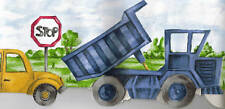 KIDS TRACTOR, DUMP TRUCK, MOTORCYCLE WALLPAPER  BORDER  RG74186B